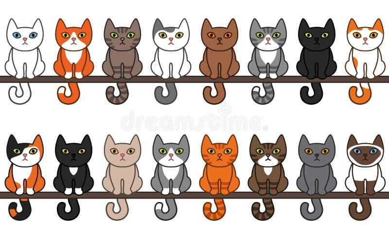 各种各样的坐的猫无缝的边界集合 逗人喜爱和滑稽的动画片全部赌注猫传染媒介例证设置用不同的猫品种 向量例证