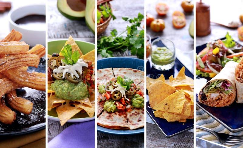 各种各样的墨西哥食物自助餐,关闭 免版税库存照片