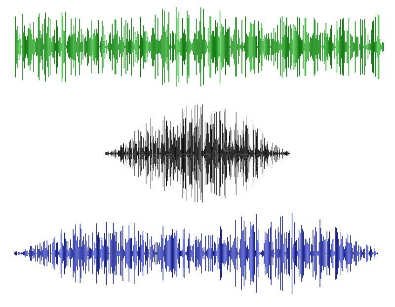 各种各样的声波 背景查出的白色 传染媒介illustr 向量例证