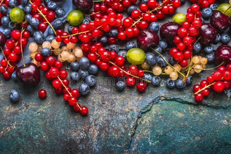 各种各样的夏天莓果:鹅莓,红色和白色无核小葡萄干,樱桃,在黑暗的土气背景,顶视图的蓝莓 免版税库存照片
