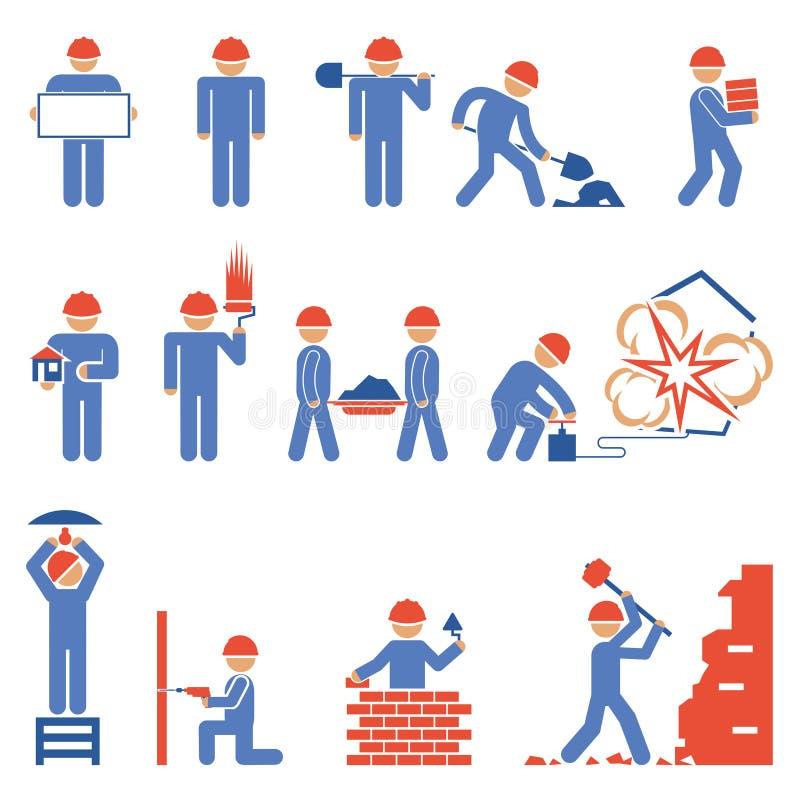 各种各样的大厦和爆破字符象 库存例证