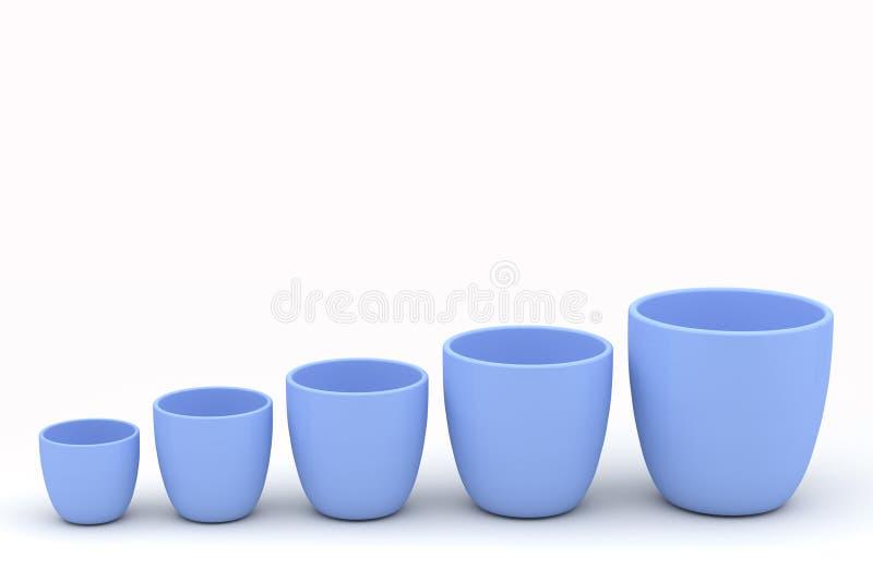 各种各样的大小陶瓷花盆集合,被回报的模型 皇族释放例证