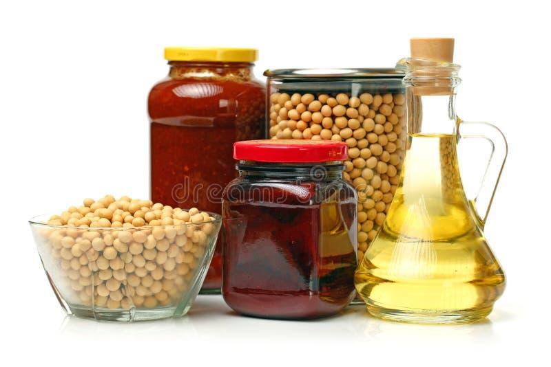 各种各样的大豆产品 免版税图库摄影