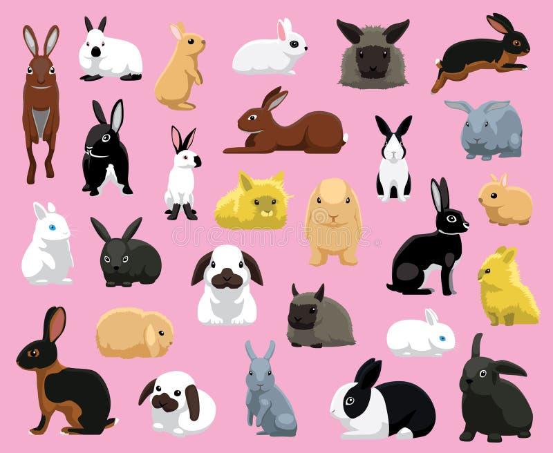 各种各样的家兔助长动画片传染媒介例证 向量例证