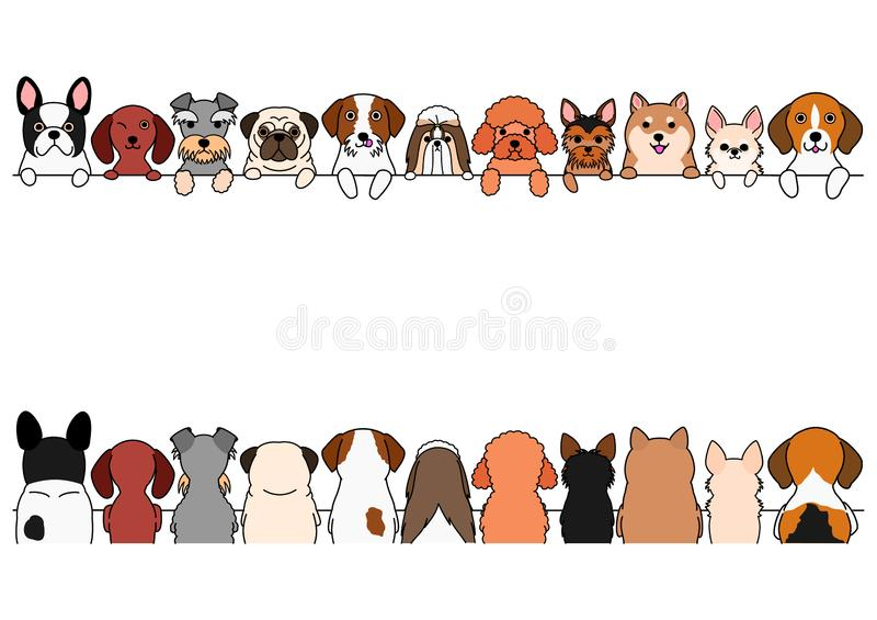 各种各样的小狗边界集合 皇族释放例证