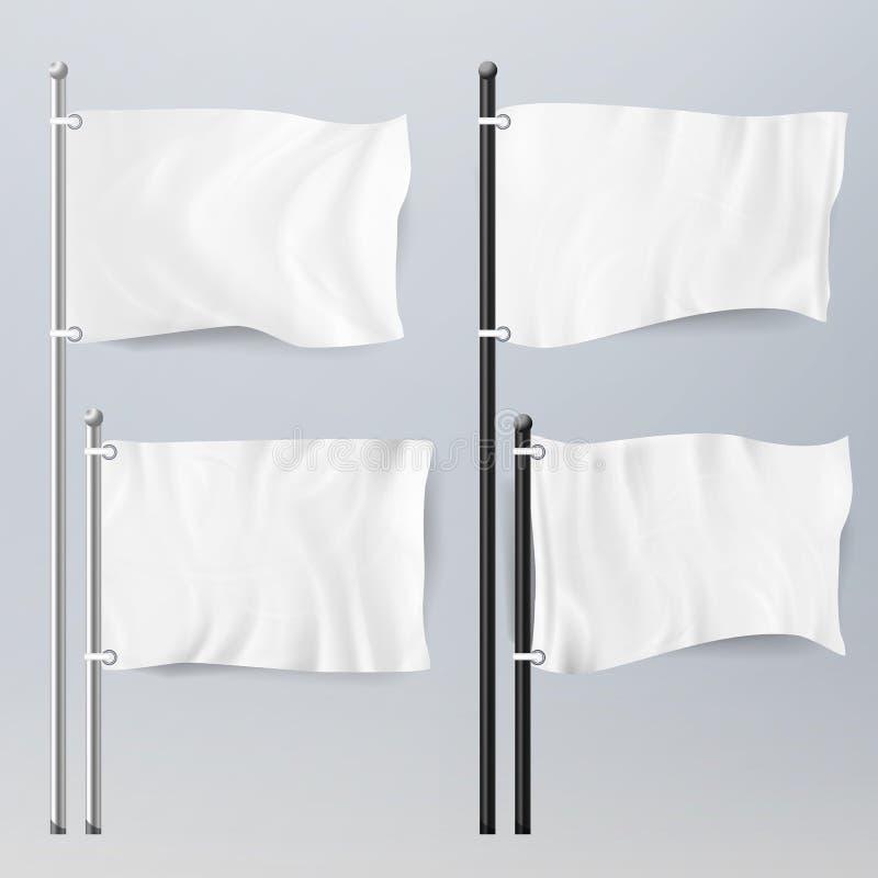 各种各样的干净的空的白旗和横幅图表大模型 白旗和纺织品横幅折叠模板集合 广告Bla 皇族释放例证