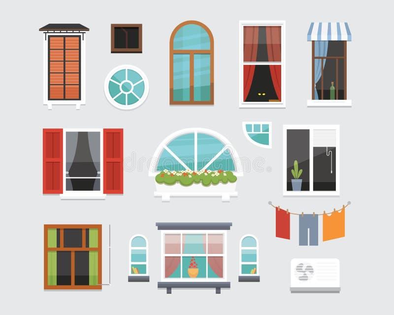 各种各样的形式不同的内部窗口导航例证 室外建筑学的设计或外视图,修造 向量例证