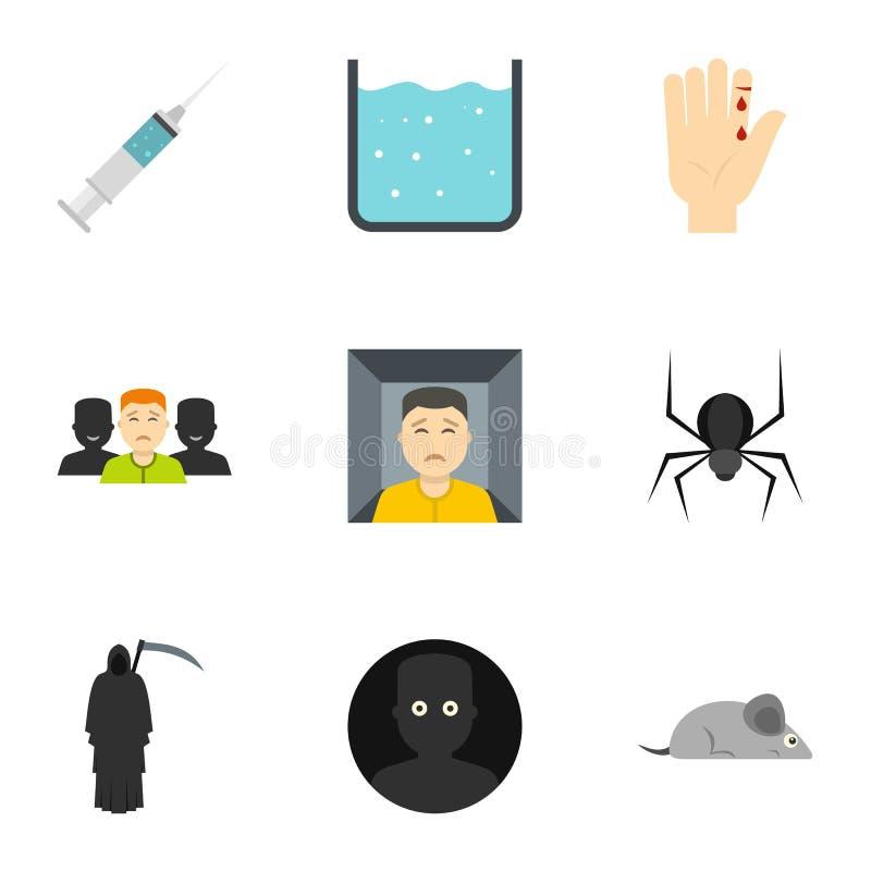 各种各样的恐惧象集合,平的样式 库存例证