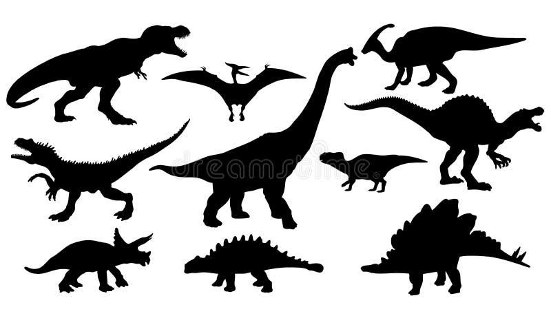 各种各样的恐龙剪影  皇族释放例证