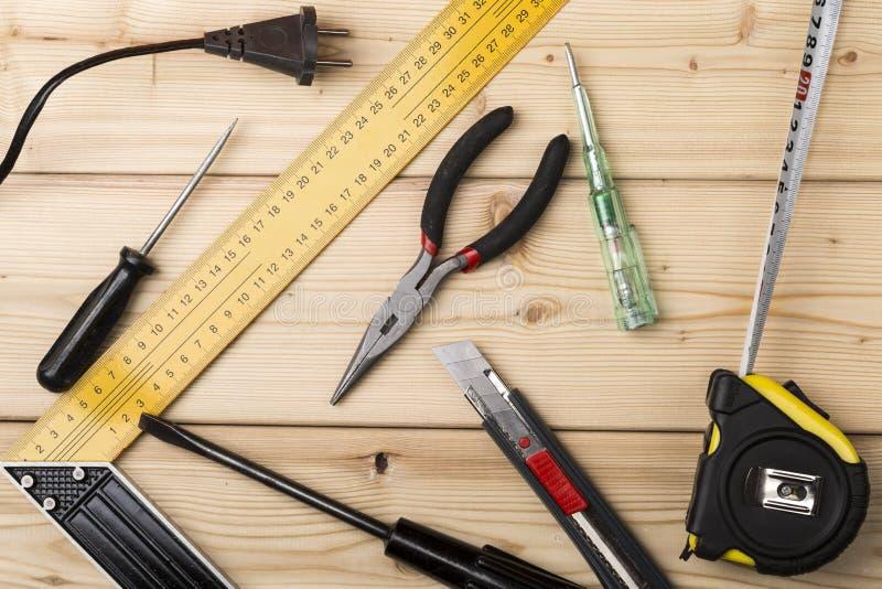 各种各样的手和长凳工具设定  免版税库存照片