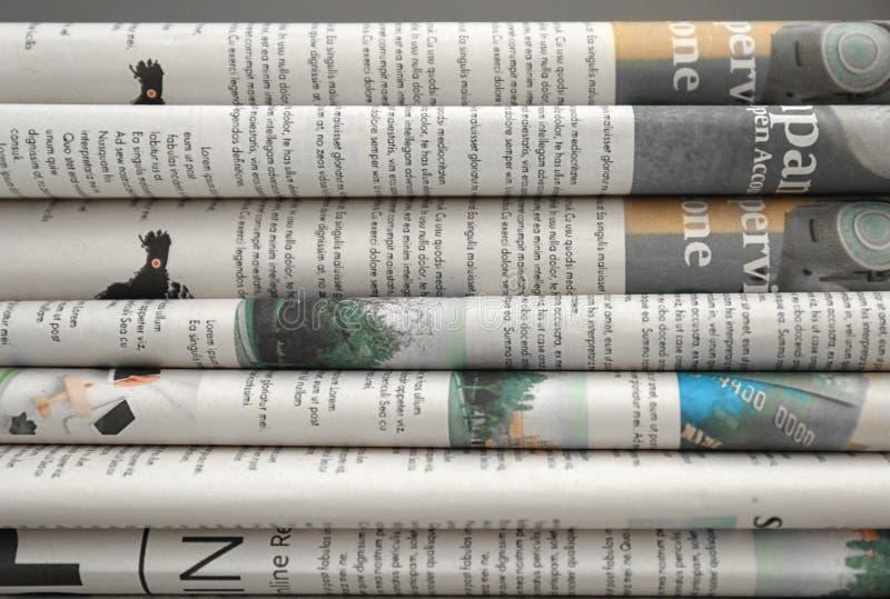 各种各样的报纸,特写镜头 库存照片