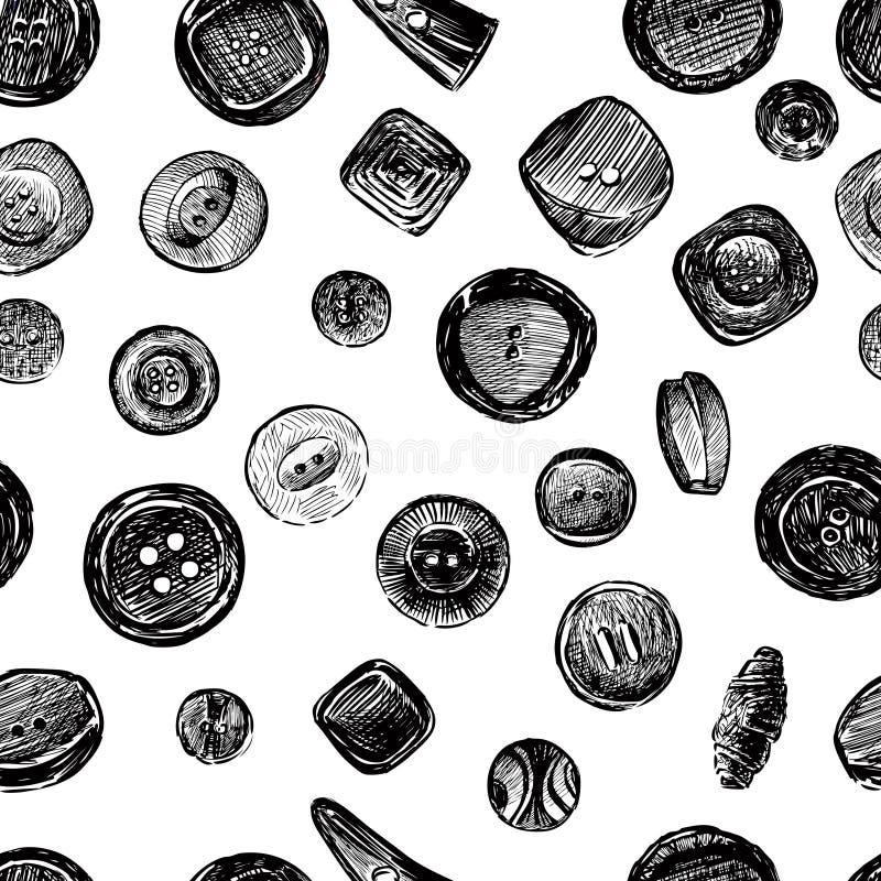各种各样的按钮剪影的无缝的样式  库存例证