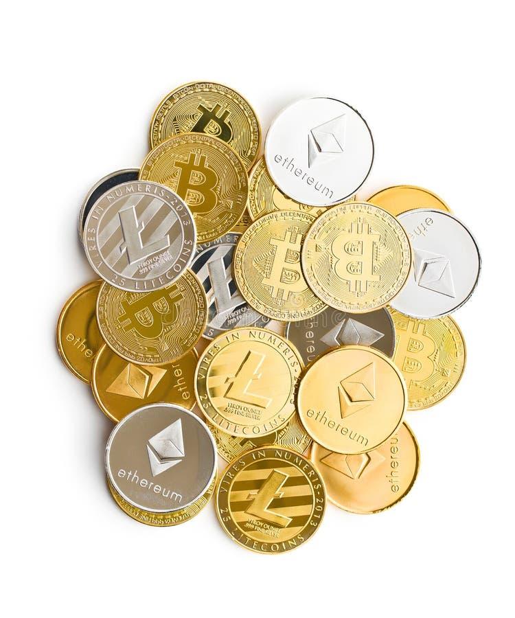 各种各样的数字式cryptocurrency 库存图片