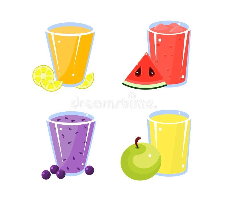各种各样的新鲜水果戒毒所汁液集合,杯柠檬,苹果计算机,蓝莓,西瓜饮料导航例证 向量例证