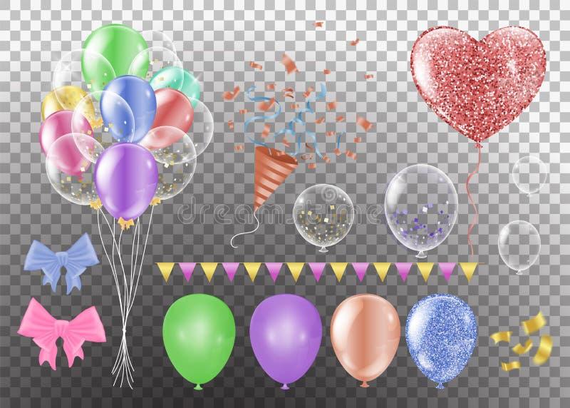 各种各样的气球 以心脏的形式各种各样的颜色在背景心脏的形状在白色背景的 向量例证