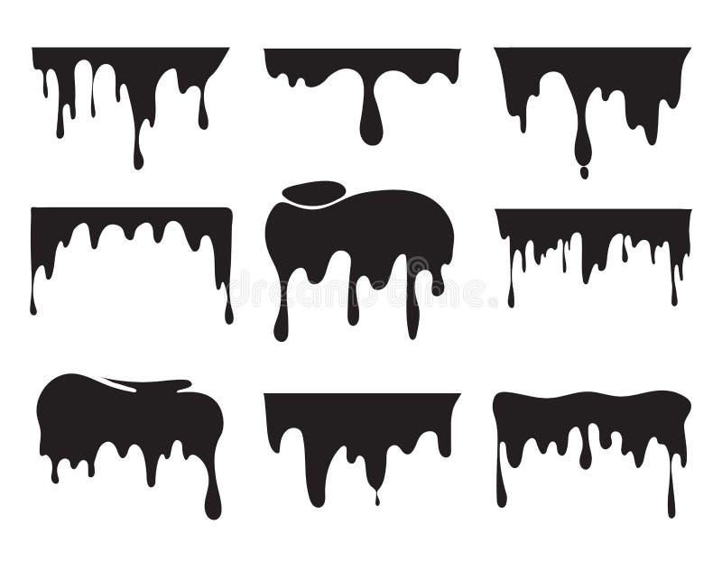 各种各样的水滴黑色油漆的例证 传染媒介图片飞溅 向量例证