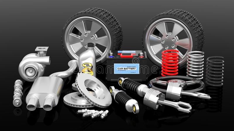 各种各样的汽车零件和辅助部件 向量例证