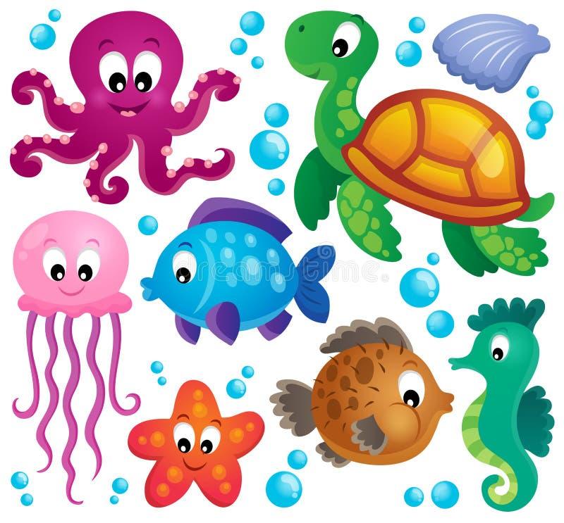 各种各样的海生动物设置了1 皇族释放例证
