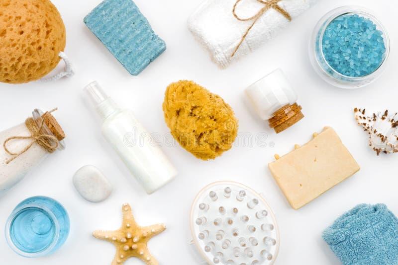 各种各样的温泉健康产品和对象在白色背景 库存图片
