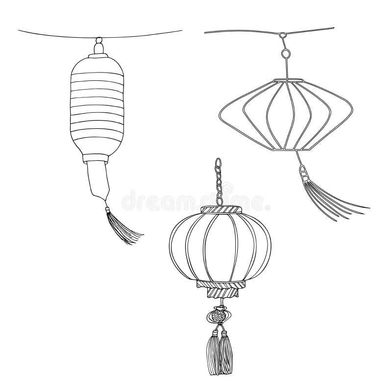 各种各样的灯笼 在白色背景隔绝的朱红色的手拉的传染媒介灯笼 皇族释放例证