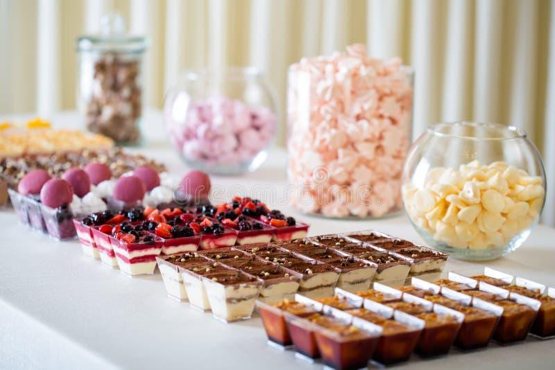 各种各样的点心:奶油色奶油甜点和提拉米苏 免版税库存图片