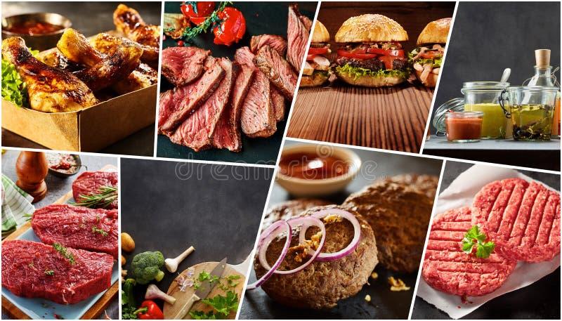 各种各样的烤肉食物创造性的拼贴画  图库摄影