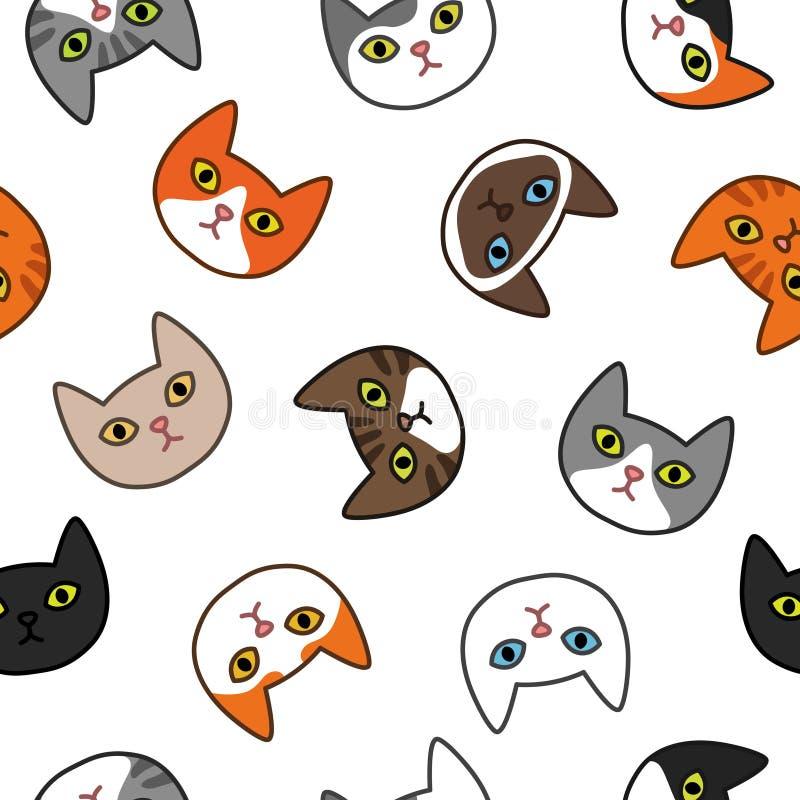 各种各样的猫头无缝的样式 逗人喜爱和滑稽的动画片全部赌注猫传染媒介例证设置用不同的猫品种 向量例证