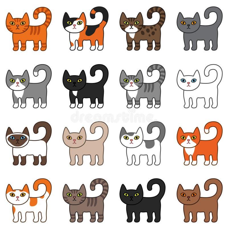 各种各样的猫无缝的样式 逗人喜爱和滑稽的动画片全部赌注猫传染媒介例证不同的猫品种 库存例证
