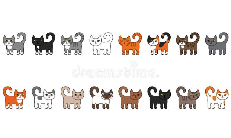 各种各样的猫无缝的边界集合 逗人喜爱和滑稽的动画片全部赌注猫传染媒介例证设置用不同的猫品种 皇族释放例证