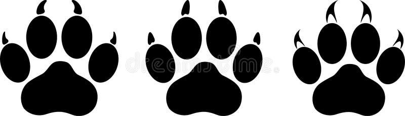 各种各样的猫爪子、猫爪子和猫贴纸标签 库存例证