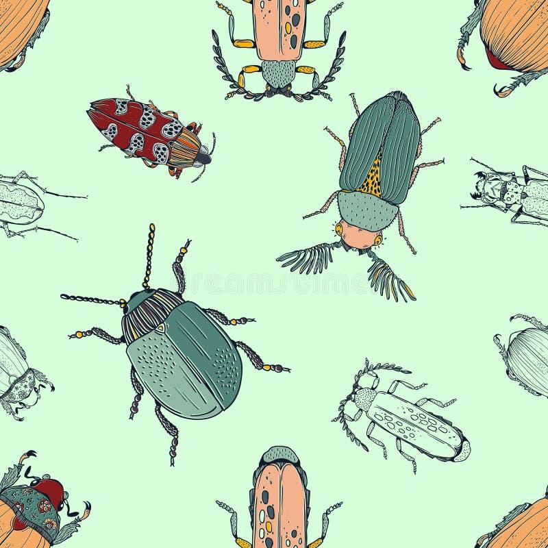 各种各样的甲虫的传染媒介无缝的样式在手中画样式 库存例证