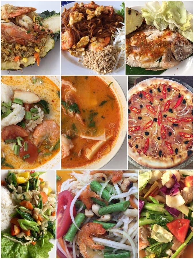 各种各样的盘拼贴画,另外烹调食品 免版税库存照片