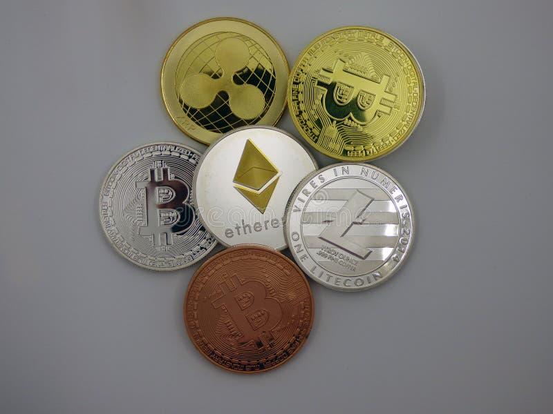 各种各样的真正硬币cryptocurrencies 库存照片