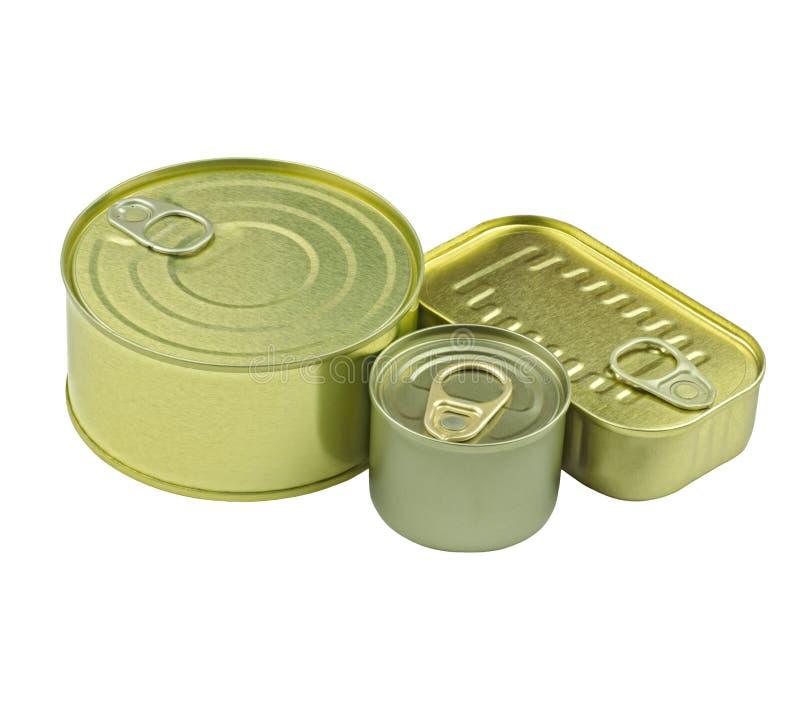 各种各样的罐子和罐头特写镜头视图在白色背景 免版税库存图片