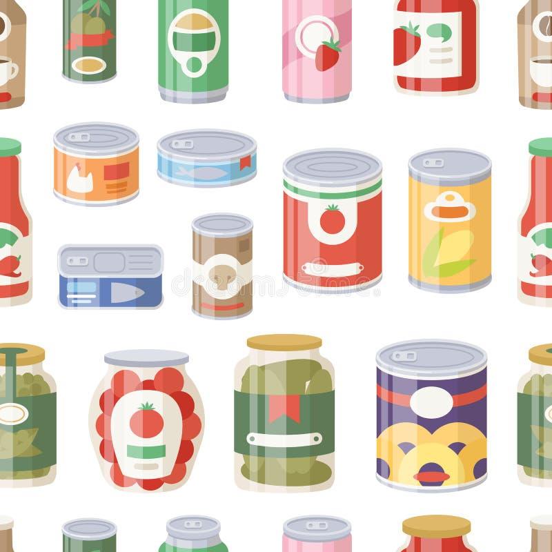 各种各样的罐子罐头食物金属容器杂货店和产品无缝的样式存贮铝的汇集 库存例证