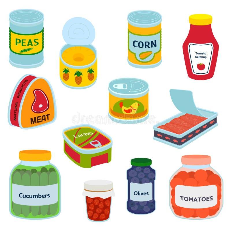 各种各样的罐子罐头食物金属容器杂货店和产品,存贮,铝平的标签的汇集 向量例证
