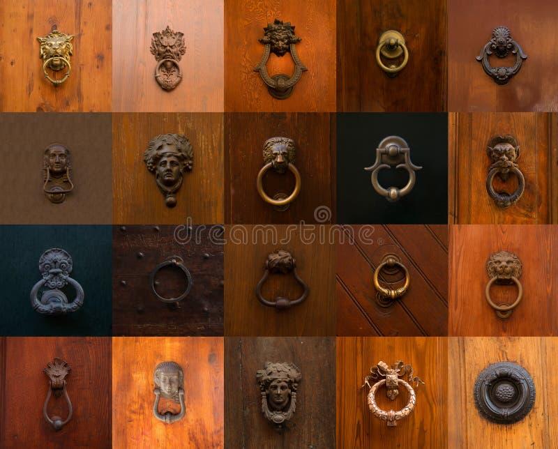 各种各样的罗马敲门人和把柄拼贴画  库存照片