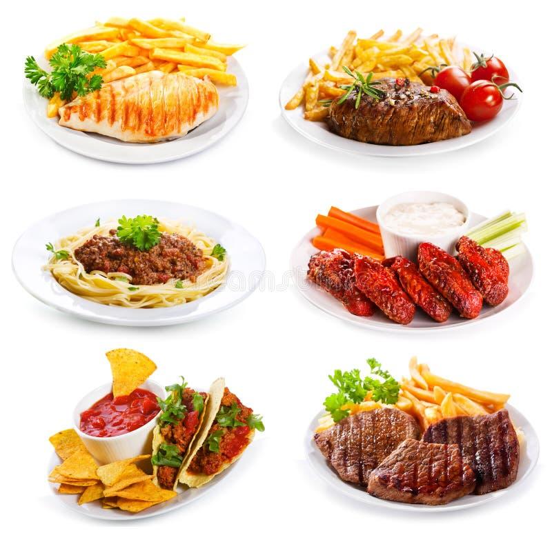 各种各样的肉和鸡板材  库存图片