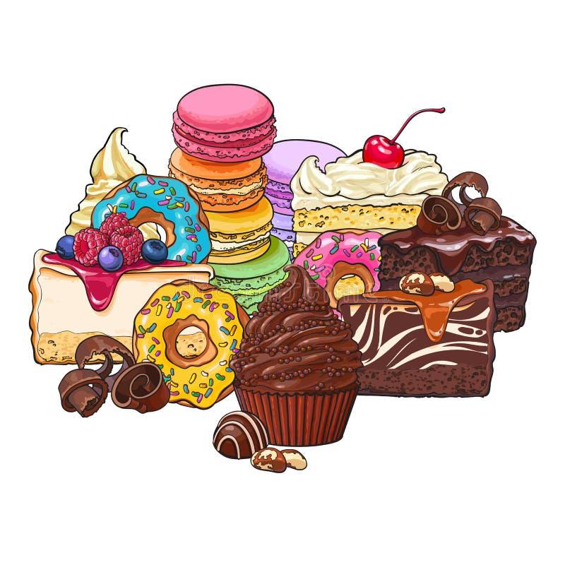 各种各样的蛋糕堆、堆,油炸圈饼、蛋白杏仁饼干和其他点心 皇族释放例证