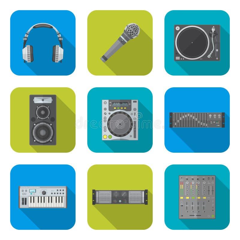 各种各样的被设置的颜色平的样式声音设备象 向量例证
