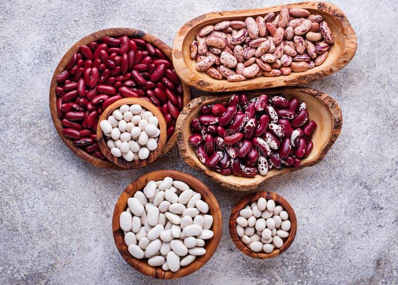 各种各样的豆的分类在木碗的 免版税库存照片