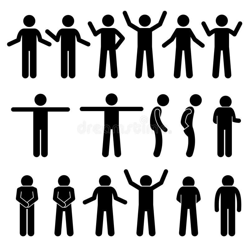各种各样的身体打手势手势人的人人棍子形象Stickman图表象 向量例证