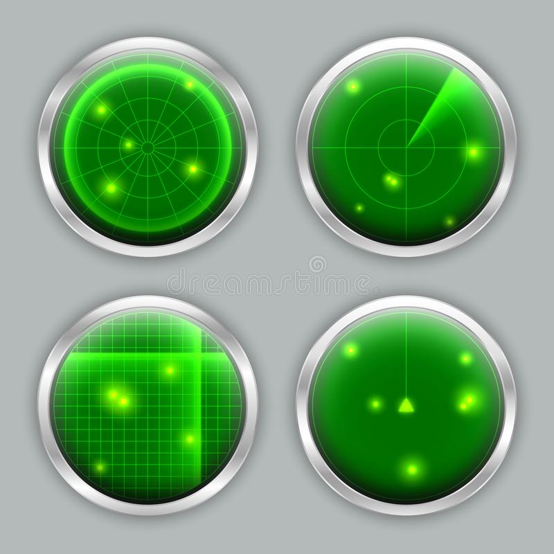 各种各样的雷达显示器、定位器、探测器、生波探侧器或者扫描器 向量例证