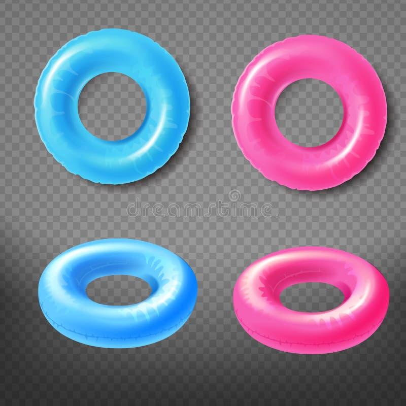 各种各样的颜色可膨胀的游泳敲响3d传染媒介 库存例证
