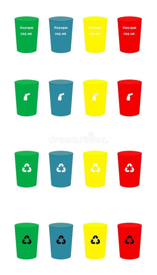 各种各样的颜色回收与象被设置的传染媒介例证的垃圾桶 向量例证