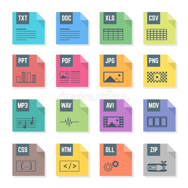 各种各样的颜色文件平的样式格式象设置了与例证 向量例证