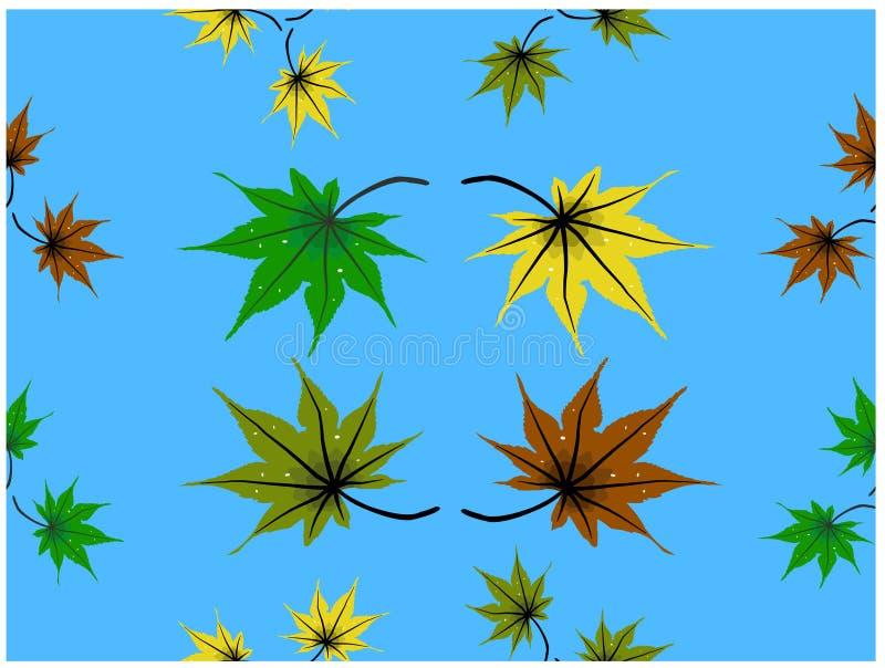 各种各样的颜色生叶落从天空 It's无缝的墙纸 向量例证