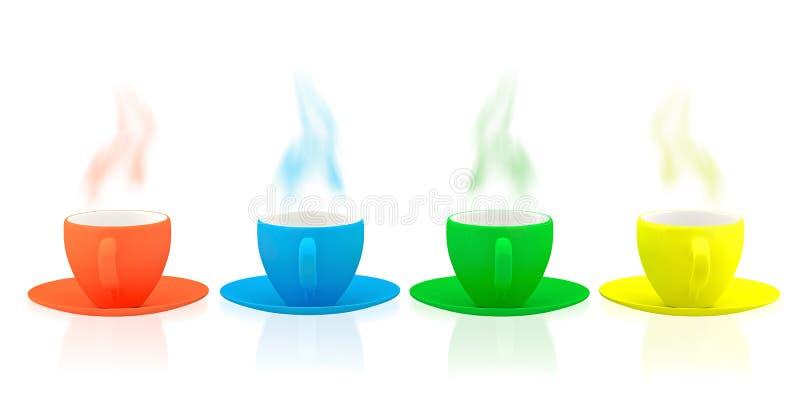 各种各样的颜色陶器和杯子 库存例证