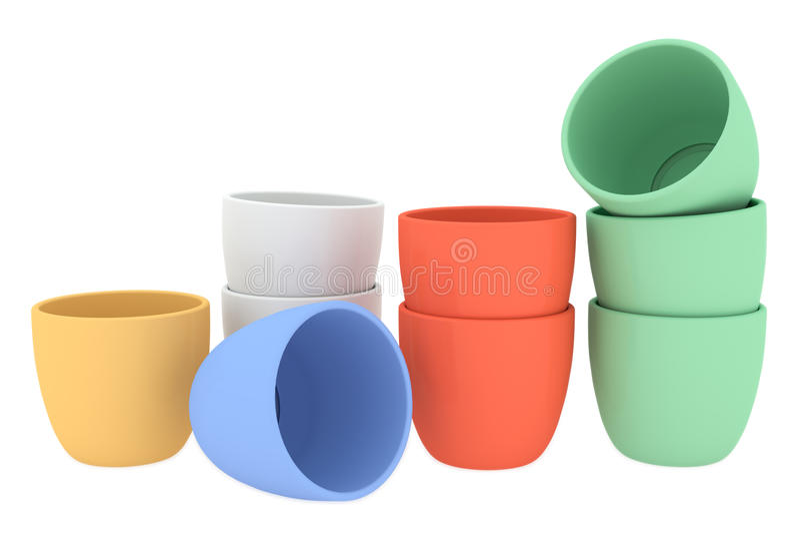 各种各样的颜色陶瓷花盆集合 库存例证