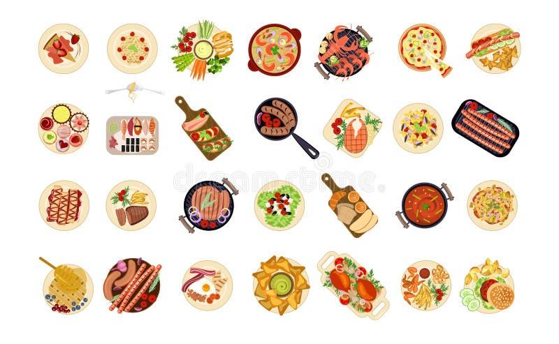 各种各样的食物盘 皇族释放例证